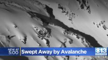 Skier narrowly survives avalanche by jumping off 100-foot cliff in California