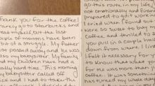 Mum's note to teen who bought her coffee goes viral