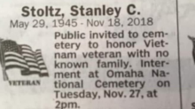 Hundreds arrive to pay respects to a Vietnam veteran who died with 'no known family'