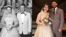 'It was gorgeous, classy and timeless': Bride honours her grandmother by wearing wedding dress from 1956