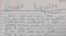 8-year-old girl writes powerful essay on gender equality: 'Girls are treated worse than boys. Why?'