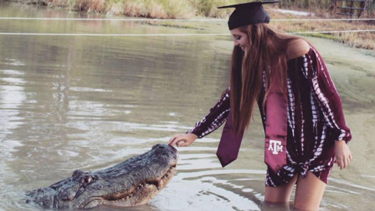 Texas College Senior Poses With Giant Alligator Known as 'Big Tex' in Jaw-Dropping Photos