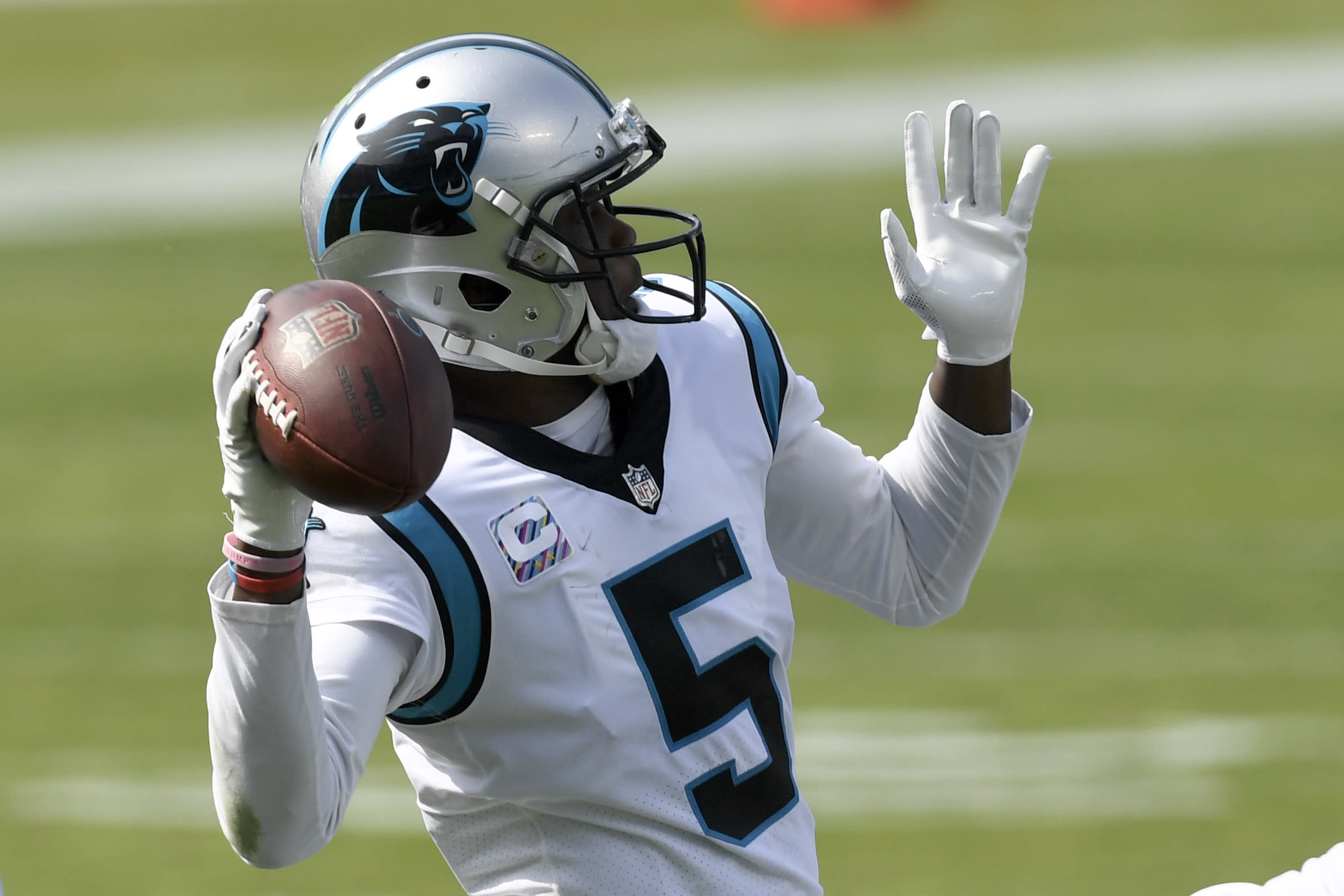 Carolina Panthers quarterback Teddy Bridgewater passes against the Arizona Cardinals during the second half of an NFL football game Sunday, Oct. 4, 2020, in Charlotte, N.C. (AP Photo/Mike McCarn)