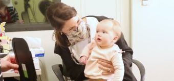 Sweet moment deaf baby hears her mum's voice