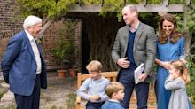 Sir David Attenborough presents Prince George with fossilised shark tooth