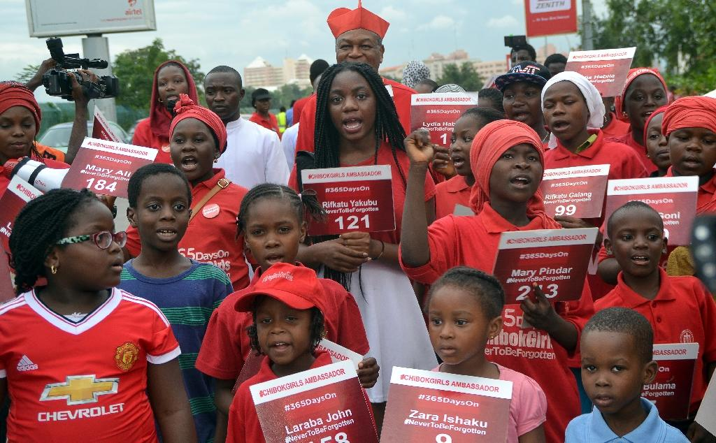 Children chant to mark 500 days since the abduction of Chibok schoolgirls by Boko Haram during a rally to call for their release in Abuja, on August 27, 2015 (AFP Photo/)