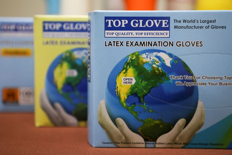 Top Glove products are pictured on display at its headquarters in Shah Alam