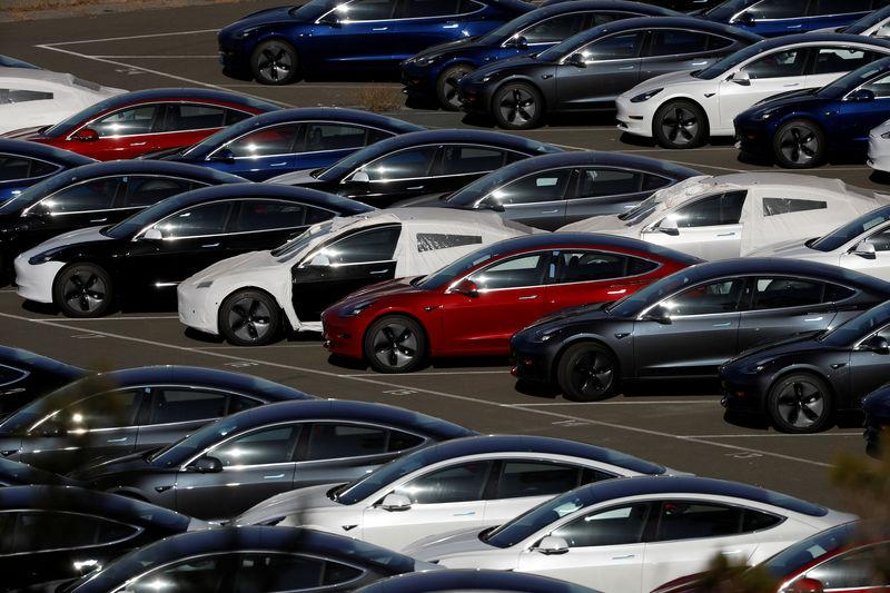 File Photo Rows Of New Tesla Model 3 Electric Vehicles Are Seen In Richmond