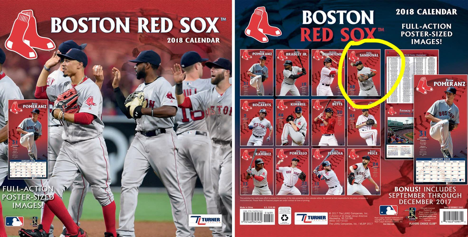 Pablo sandoval is mr april on the boston red soxs 2018 team calendar voltagebd Images