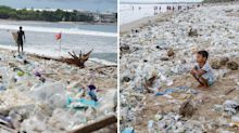 'Trash keeps coming': Shocking images of popular tourist beach