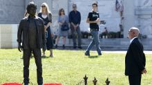 Jennifer Lawrence and J.J. Abrams attend statue unveiling for Star Trek's Anton Yelchin