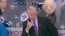Fan dresses as old man behind Sharks bench