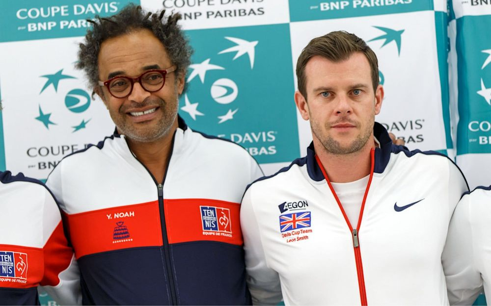 Old enemies: Yannick Noah's France and Leon Smith's GB face off in the Davis Cup quarters  - Rex Features