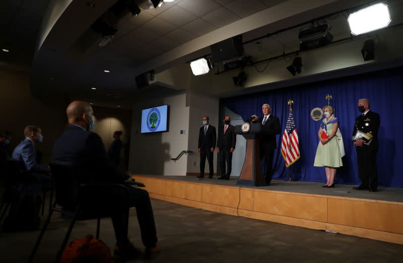 U.S. Vice President Mike Pence leads a White House coronavirus task force briefing at the Education Department in Washington