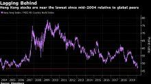Hong Kong Stocks Trade Near Lowest Versus World Since 2004