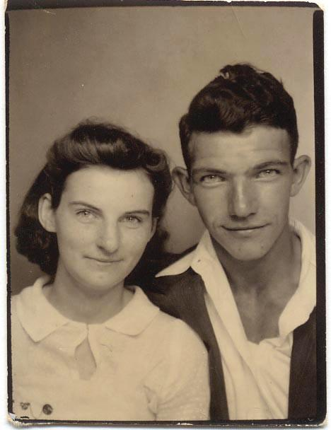 In this photo from the early 1940s provided by Dick Felumlee, Kenneth and Helen Felumlee of Nashport in central Ohio pose for a photo. The Felumlees, who had eight children and celebrated their 70th wedding anniversary in February, died 15 hours apart from each other last week. (AP Photo/Felumlee Family)