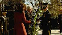 Obama, Clintons lay wreath at JFK gravesite
