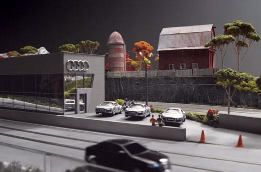 Audi goes arty, crafts A4 replica slot cars for 'quattro experience' installation (video)
