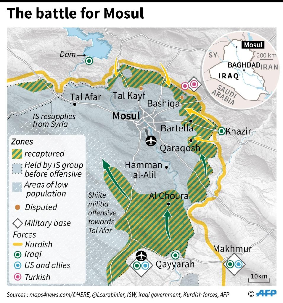Map of the region around Mosul with the latest military developments as of October 30 (AFP Photo/Iris ROYER DE VERICOURT, Paz PIZARRO, Thomas SAINT-CRICQ)