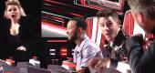 "Coaches Kelly Clarkson, John Legend, Nick Jonas and Blake Shelton get a shock on ""The Voice"" Season 20 premiere. (NBC)"