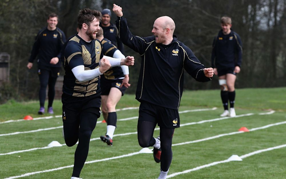 Elliot Daly (L) was all smiles in Wasps training this week - Getty Images Europe