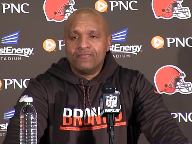 Cleveland Browns head coach Hue Jackson wells up while ...