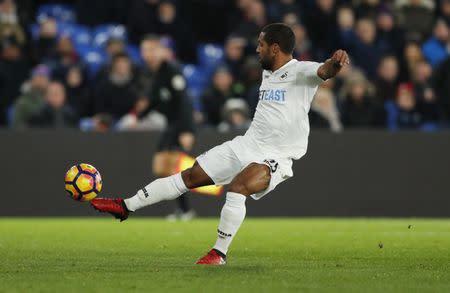 Swansea City's Wayne Routledge in action