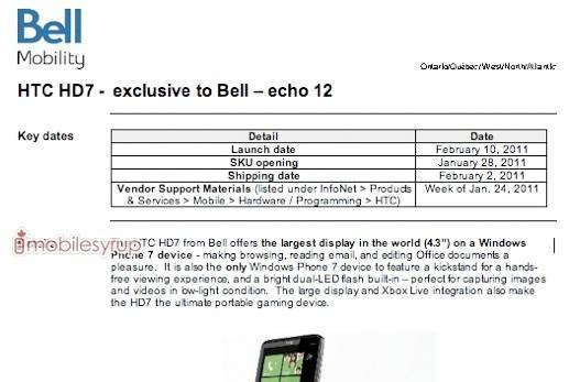 Bell bringing HTC HD7 on February 10th?