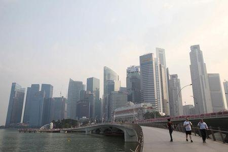 A view of the city skyline shrouded by haze in Singapore