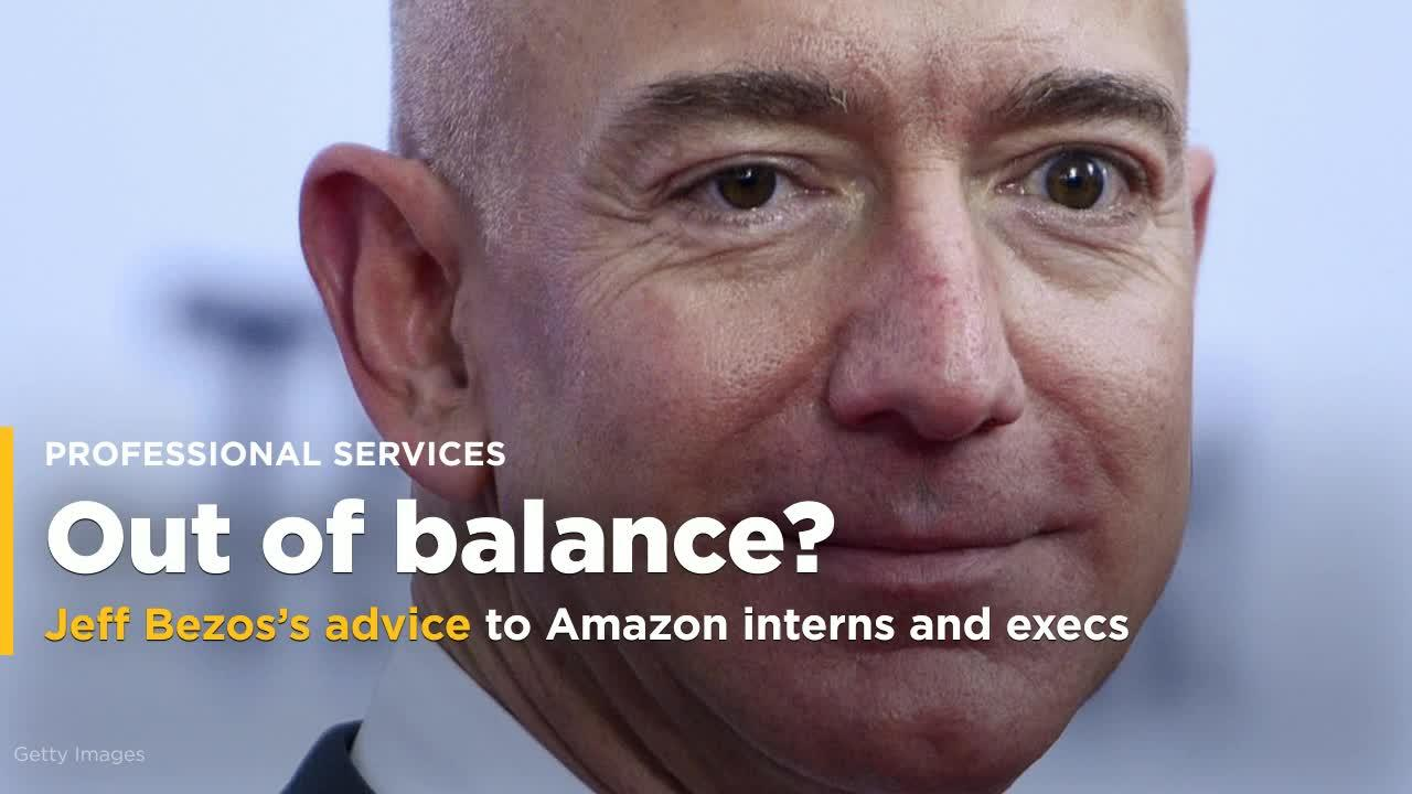 Jeff Bezos says his advice to Amazon interns and execs is to stop aiming for work-life 'balance' - here's what you should strive for instead