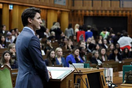 Canada's Prime Minister Justin Trudeau listens to a question during the Daughters of the Vote event in the House of Commons on Parliament Hill in Ottawa, Ontario, Canada, April 3, 2019. REUTERS/Chris Wattie