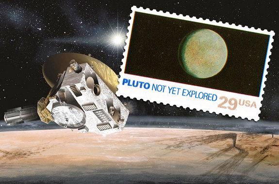 """A 1991 U.S. postage stamp flying aboard NASA's New Horizons probe to Pluto is soon to be outdated given its inscription labeling the dwarf planet as """"Not Yet Explored."""