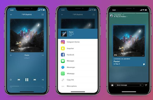 You can share Pandora music and podcasts on Instagram, if you want