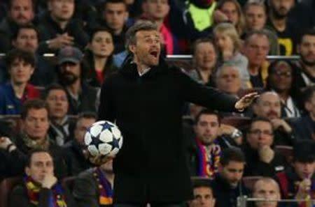 En la imagen de archivo, Luis Enrique en un partido de Liga de Campeones entre el Barcelona y el Paris St Germain