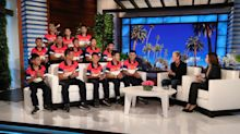 Thai soccer team opens up about cave rescue on 'Ellen' — and gets a surprise visit from idol