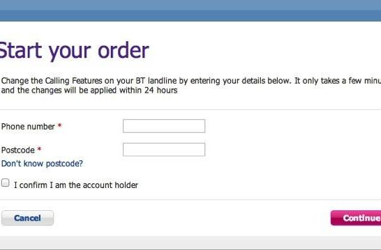BT lets site visitors add features to landlines with only a phone number and postcode