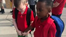 Eight-year-old boy's kind act to comfort child on first day of school