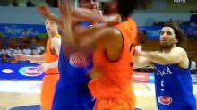 Danilo Gallinari breaks shooting hand throwing punch during international friendly