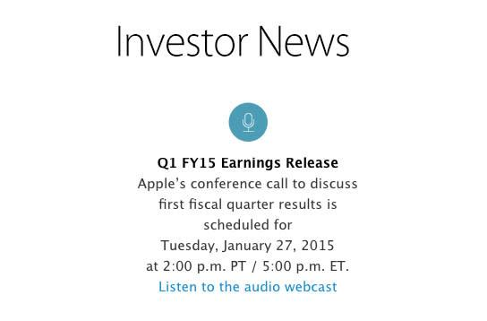Apple Q1 2015 earnings call on tap for January 27