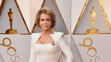 Jane Fonda, 80, rocks tight white gown with shoulder pads to the 2018 Oscars