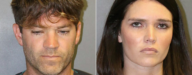 Grant William Robicheaux and Cerissa Laura Riley shown in mug shots released by the district attorney's office in Orange County, Calif. (AFP)