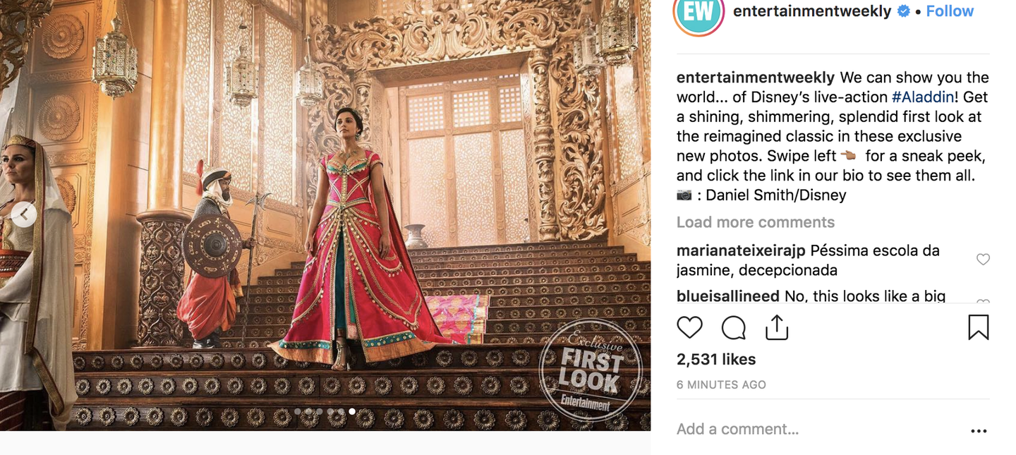 Here S The First Look At Naomi Scott As Princess Jasmine In Disney S