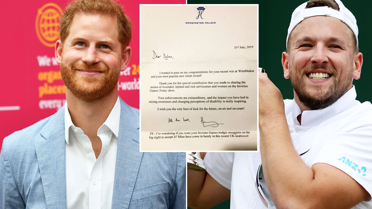 Prince Harry's brilliant 'budgie smugglers' letter to Dylan Alcott