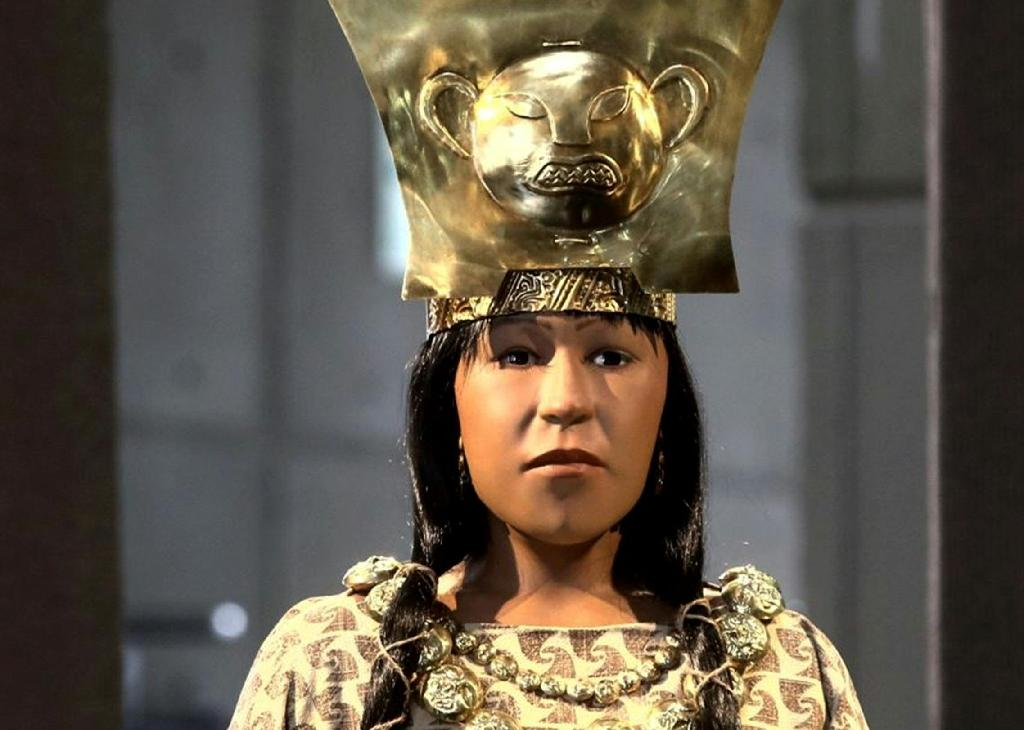 A reconstruction of Lady of Cao, the name given to the mummified body of a priestess whose tomb was discovered more than a decade ago in La Libertad, Peru, in a picture released by the Peruvian national news service Andina on July 4, 2017 (AFP Photo/Oscar FARJE)