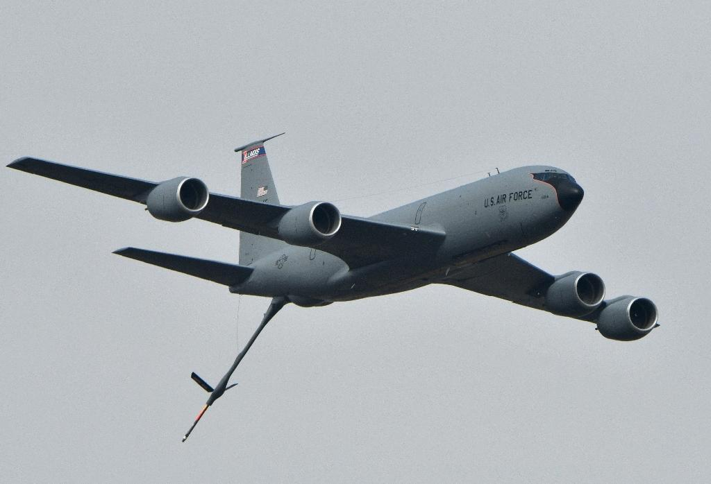 A US Boeing KC-135 air refueling tanker during an exercise