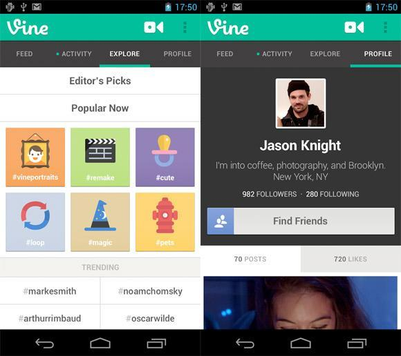 Vine for Android update brings mentions, autocompleting hashtags