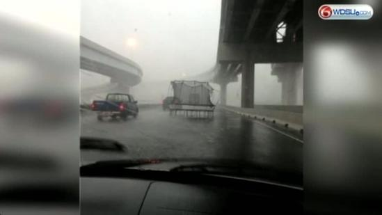 Trampoline bounces onto Causeway Blvd during Wednesday severe weather