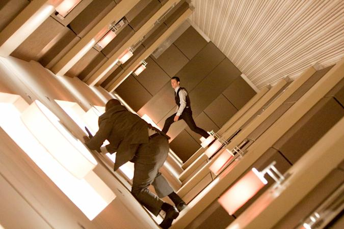 The hallway fight scene in Inception.