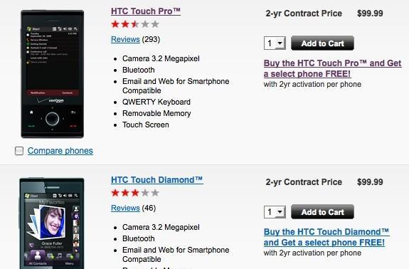 Verizon: Touch Diamond, Touch Pro now $99 with contract