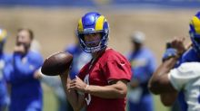 Rams' Matthew Stafford goes through the interview motions before camp